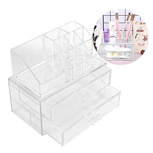 Acryl Kosmetik Make up, 2 Schubladen 9 Slots Schlafzimmer Schminktisch Schmuck Display Box Make up Pinsel Halter Transparent Kosmetik Aufbewahrungskoffer Container Veranstalter Typ für Lippenstift -
