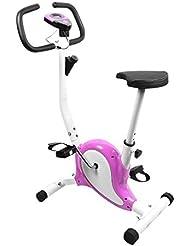 OUTAD Cyclette da Allenamento Home Trainer Exercise Bike Display LCD Confortevole Spugna Regolabile Altezza Sella Indoor Trainer Bike (Porpora)