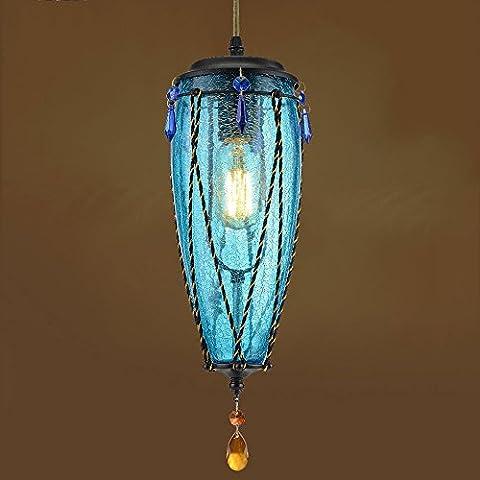 BOBE SHOP- American Retro kreative Individualität farbiges Glas dekorative einzelne Kopf kleine Decke Pendelleuchte ( Farbe : Blau )