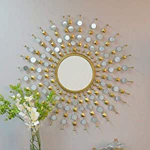 Furnish Craft Antique Sunburst Multiple Mirror Golden Mirror for Home Decor, Living Room, Bedroom (36 x 36 Inch, Golden)