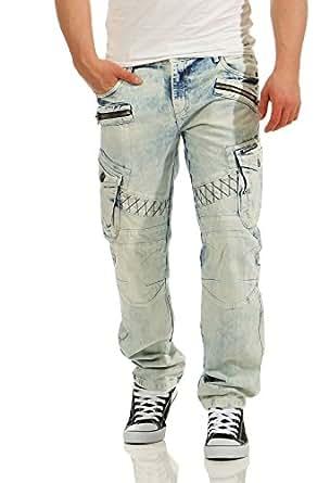 Cipo&Baxx Herren Herren Jeans im Cargo-Design CD435 , Ice Blau W29/L32
