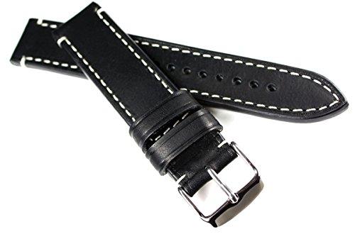 20mm / 20 mm RIOS1931 CT XL kräftiges Rindsleder Military Style Armband Retro Look quality STRAP Schwarz Weiße Naht Militär Marine Flieger Band Top Qualität
