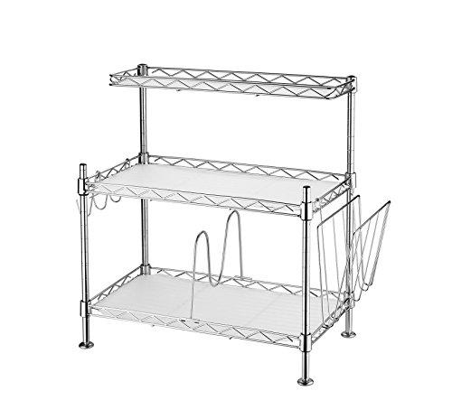 Arbeitsplatte Regal (Einstellbar Küchen-Eckregal 3 Ablagen mit 3 Haken, 1 Teiler und Mini Rack (Silber))