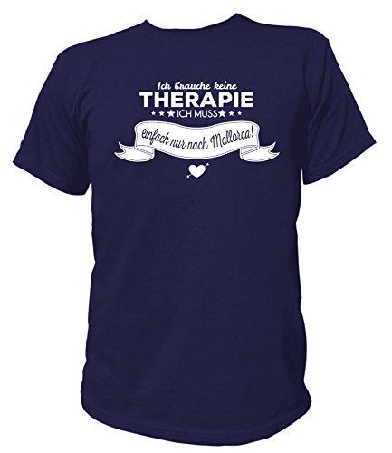 Artdiktat Herren T-Shirt Ich brauche keine Therapie - Ich muss einfach nur nach Mallorca Navy