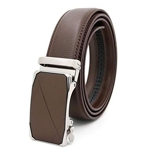 H.ZHOU Herren Gürtel TQ105 Hochwertiges Leder Material Automatik Schnalle Beiläufige Größe In Angepasst Geschenkbox Schwarz,Braun (Farbe : Braun, größe : 120CM)