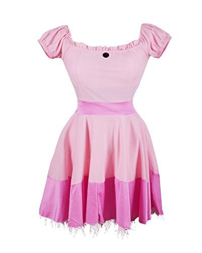 ickes Kleid Kostüm von Emma's Wardrobe - beinhaltet pinkes Prinzessinnenkleid, Diadem und ein Paar lange weiße Handschuhe - Dornröschen Kleid oder Prinzessin Peach Kleid für Partys - EU Größen 36-42 (Mario Prinzessin Kostüm)