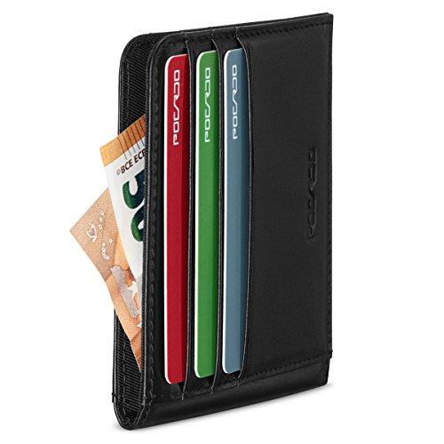 POCARDO 'SYMMETRY' Minimalisten Portmonne für Kreditkarten und Geldscheine - Echtleder Geldbeutel mit RFID Schutz