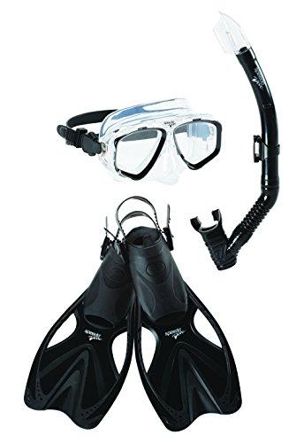 Speedo Adventure Mask Snorkel Fin Set, Black/Black, Large/X-Large