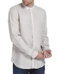 Jack & Jones Mens Casual Shirt (5713610879014_12125961Beige_Small)