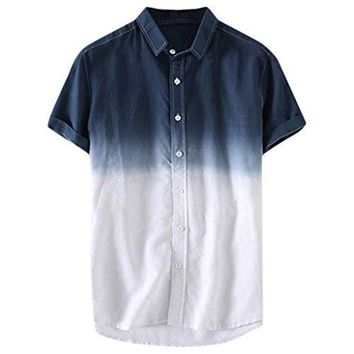 Herren Kurzarm T-Shirts, Herren Kurzarm T-Shirt mit Farbverlauf mit Button-Down Plain Elegant Casual Spring-Summer Fashion 2019 Neu