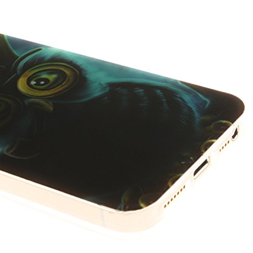 Meet de Feuillu herbe Slim de Protection Téléphone Case pour Apple iPhone 6 / iphone 6S, Apple iPhone 6 / iphone 6S Bumper Case Coque,Apple iPhone 6 / iphone 6S Slim TPU Transparent Silicone Housse Et Peacock hibou bleu