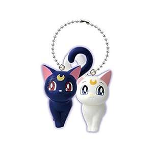 Sailor Moon Figure Keychain~20th Annivesary PVC Mascot Swing~Artemis & Luna-25mm