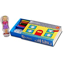 CARDDIES FAMILY ONE CARD PEOPLE Colour and Play Set- Portable Art Kit with Sturdy Card People and Playscene for Colouring-in Creativity, Imagination, Pretend Play and Story Telling -Premium Colouring Pencils and Plastic Stands; Perfect Travel Toy
