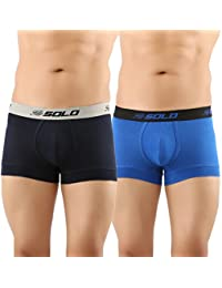 SOLO Men's Modern Grip Short Trunk Cotton Stretch Ultra Soft Classic Boxer Brief (Pack of 2)