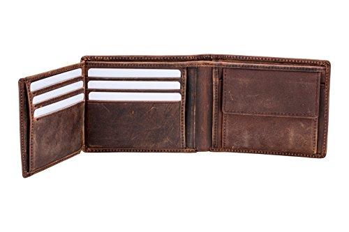 Vintage Geldbörse Herren aus echtem Leder (Querformat) inkl. Geschenkbox, Rauleder, braun