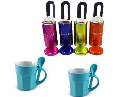4er Set Kaffee Paddosen von James Premium + Padheber + 2 James Premium blauen Porzellan Tassen mit Löffel