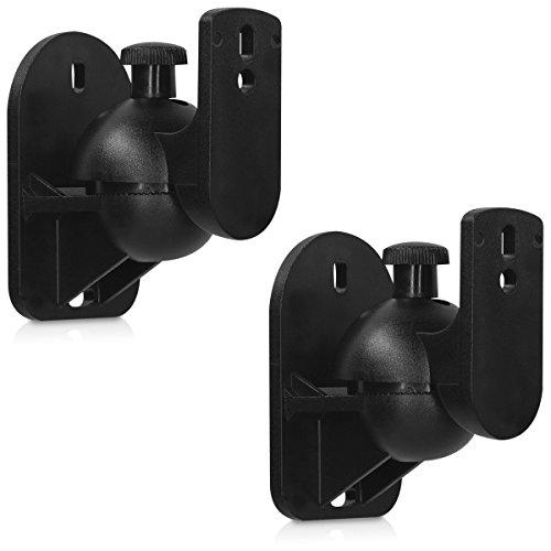 kwmobile 2in1 Set: Lautsprecher Wandhalterungen - 2er-Set Wand Lautsprecherhalterung Schwarz - Universal Boxen Halter mit Zubehör - Schwenkbar Neigbar - Maximale Belastung 3,5kg