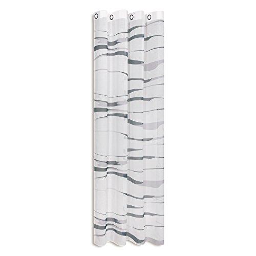 Vorhangschal / Gardine / Vorhang / Ösenschal STRIPES / B/H: 140x245cm / halbtransparente Qualität / mit bedruckten Querstreifen / moderner Ösenschal 40mm (silber)