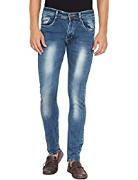 Flying Port Men's Cotton Lycra Blue Slim Fit Casual Jeans