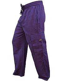 Shopoholic Mode Herren Seitentasche Leichte Baumwolle Boho Hippie Hose