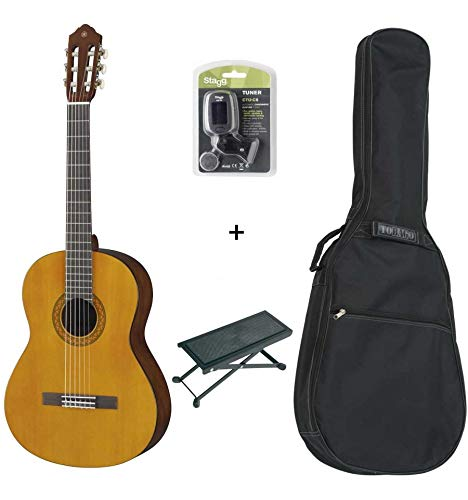 Yamaha C40 - Lote de guitarra clásica, funda, reposapiés y afinador