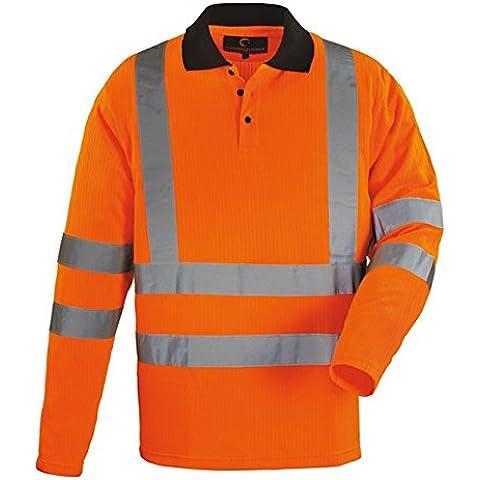 Euro-Protection-Polo de manga larga de alta visibilidad de malla de poliéster 75% poliéster, 25% gr. 235 Varios colores., amarillo