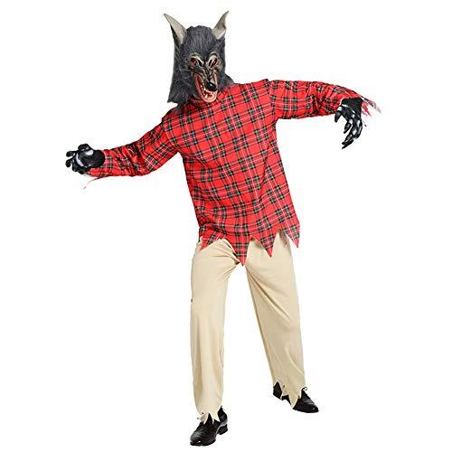 Plus Kostüm Erwachsene Für Werwolf - AINI Halloween-Kostüme, Horror-Werwolf-Kostüm, Cosplay, Halloween-Party, Outfit für Erwachsene, Mütze + Handschuhe + Kleid + Leggings