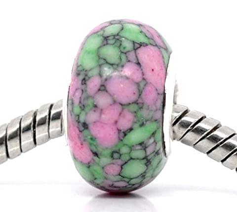 Pink/Green Dyed Howlite Semi-Precious Stone - Silver Plated Charm Bead - fits Pandora, Chamilia etc style Bracelets - SpangleBead