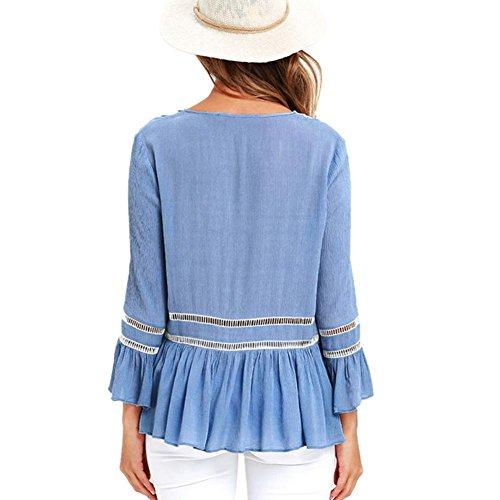 ... LILICAT Damen T-Shirt mit Floral Spitze Langarmshirt Spitzenshirt Chic  Top Frauen Bluse V- ... 1cbd806a00