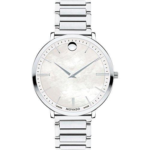 Movado Women's Ultra Slim 35mm Steel Bracelet Swiss Quartz Watch 0607170