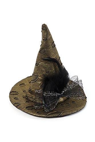 Heitmann Deco Mini-Hexen-Hut - gold-schwarz - mit Spinne und Federn - Ideal für Karneval und Halloween - 2 Clips zum Befestigen