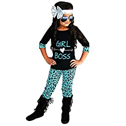 Kobay 2 STÜCKE Kleinkind Kinder Baby Mädchen Outfits T-Shirt Tops Kleid + Lange Hosen Kleidung Set