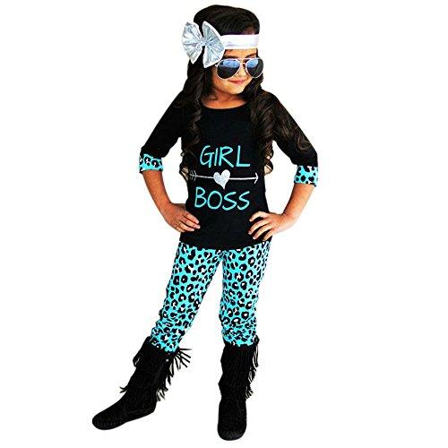 Kobay 2 STÜCKE Kleinkind Kinder Baby Mädchen Outfits T-Shirt Tops Kleid + Lange Hosen Kleidung Set (Rolling Stones Kostüm)