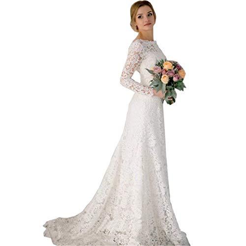 MerryGirl Lace Vintage Mermaid Brautkleider mit Langen Ärmeln Backless Brautkleider (Elfenbein, 38)