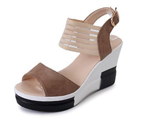 Bereift Muffin untere Steigung mit bequemen hochhackigen Sandalen Frauen Sandalen Sommer Sandalen Frauen Brown