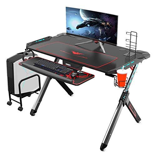 Eureka Ergonomic R1-S Gaming Tisch Gaming Schreibtisch Gaming Computertisch PC Schreibtisch Gamer mit RGB Beleuchtung Rot Mauspad Getränkehalter und Kopfhörerhalter Schwarz