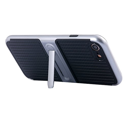 IPhone 7 Fall Shockproof TPU + PC schützender Fall mit Halter für iPhone 7 by diebelleu ( Color : White ) Grey