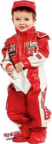 Kostüm Rennfahrer Mädchen - Fancy Me Italienischer Deluxe Baby Kleinkind Jungen Mädchen rot Rennfahrer Auto Racer Sportautos Verkleidung Kostüm Kleidung 0-36 Monate - Rot, 0 Years
