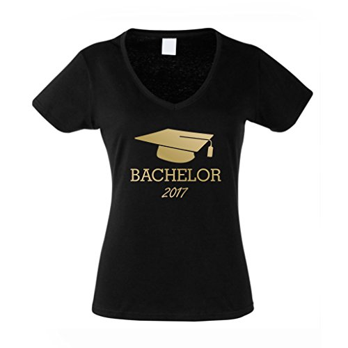 Damen V-Neck T-Shirt Abschluss Bachelor 2017 - von SHIRT DEPARTMENT, L, schwarz-gold