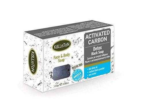 Kalliston Detox de charbon actif, effet Savon, Noir, 110 g, pièce visage et corps Nettoyage doux, Cosmétique Naturel à partir de Grèce avec l'huile d'olive bio, provitamine B5, beurre de karité
