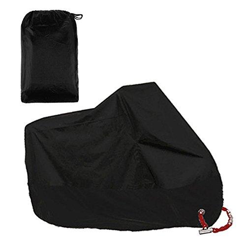 Funda para Moto /Cubierta de la Moto 190T Impermeable Cubierta Protectora UV los Agujeros del Acero Inoxidable al Aire Libre Con el Bolso del Almacenaje (Negro)