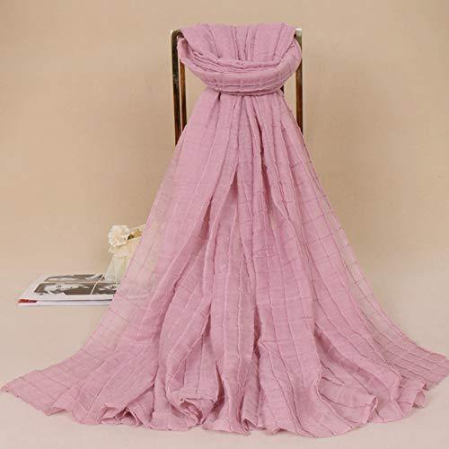 Hmeili Schal Monochrom Krepp Plaid Damen Plissiert Einfarbig Baumwolle Bs479