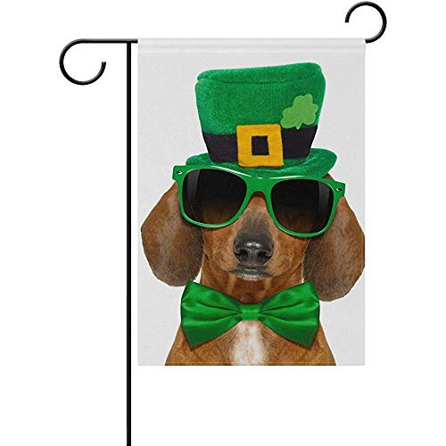 Mesllings Dog in St Patricks Day Hat and Sunglasses Garden Flagge Yard Banner Polyester for Home Flower Pot Outdoor Decor 12