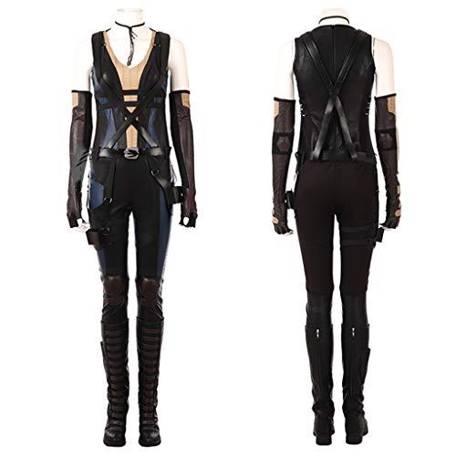 nihiug X-Men Serie Dead Warrior 2 Cosplay Kostüm Domino Jumpsuit Strumpfhose Cos Kostüm Damen Halloween Kostüm,Black-3XL(183to187) (Domino's Kostüm)