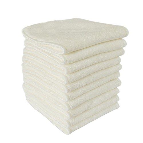 Pañal del bebé HEALIFTY 6pcs/pack Paño reutilizable lavable del pañal de bambú natural de alta calidad para el bebé (Beige)