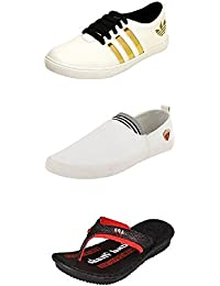 Jabra Perfect Combo Pack Of 2 Shoes- Sneakers And Loafers & Slippers For Men In Various Sizes - B06XVJC4PK