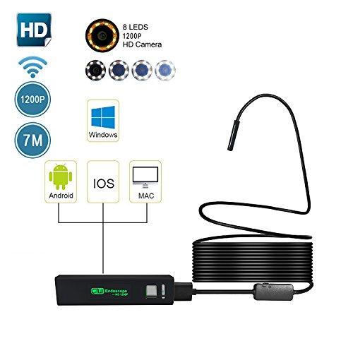 WIFI Endoskop, Umiwe Halbsteife Wasserdichte 1200HD Wifi Endoskope-Inspektions Kamera 2.0 Megapixel CMOS-Schlange-Kamera mit 8 justierbaren LED-Lichtern für Android, IOS, Windows and PC System (Schwarz-7m) (Schwarz Entlüftungsrohr)