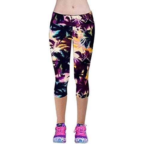 Pantalones mujer deporte Sannysis YOGA Pantalones, Legging Mallas para mujer (Púrpura, L)