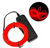 #10: REES52 Red 3meter EL wire Neon light LED for party/halloween/costumes/DIY (with adapter and battery)