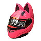 shuhong Motorradhelm Katze Hörner Männer Frauen Atmungsaktiver Moto-Helm, Full Face...